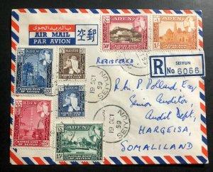 1959 Seiyun Aden Airmail Registered Cover to Hargeisa Somalia