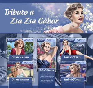 Guinea-Bissau 2017 MNH Zsa Zsa Gabor 5v M/S Movie Stars Celebrities Stamps