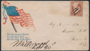 #26 ON UNION CIVIL WAR PATRIOTIC COVER TO OHIO CV $150 BT58