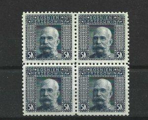 BOSNIA  & HERZEGOVINA 1906  5KR   P 9 1/2  BLOCK OF 4  MNH  CAT £76 NO2