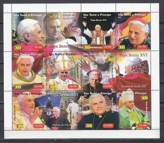 St. Thomas, 2005 issue. Pope Benedict XVI sheet of 9.