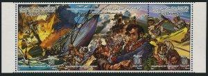 Libya 1265 ac strip,MNH.Michel 1545-1547. Battle of the Philadelphia,1985.Ship.