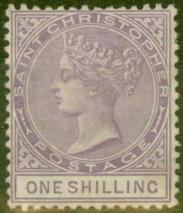 St Christopher 1886 1s Mauve SG20 Fine Lightly Mtd Mint