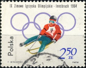 POLAND / POLEN - 1964 Mi.1462A 2.50Zl Winter Olympics (Luge) - VF Used (a)