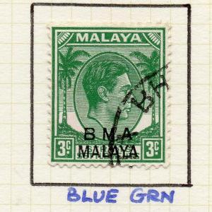 Malaya Straights Settlements 1945 Early Shade of Used 3c. BMA Optd 307983