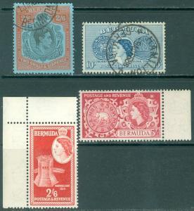 BERMUDA : 1950-53. Stanley Gibbons #117c, 149 VF Used. #147-48 VF, MNH. Cat £52.