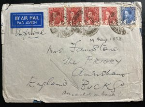1938 Dhibban Iraq Airmail Cover To  England Rare Slogan Cancel On The Back