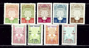 Paraguay 560-64 and C265-68 MNH 1960 set