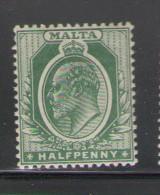 Malta Sc 30 1904 ½ d grn Edward VII stamp mint