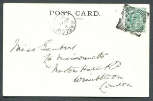GREAT BRITAIN SQUARED CIRCLE CANCEL BAKEWELL ON POSTCARD