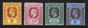LEEWARD ISLANDS —SCOTT 51//55 (SG 51//55)— 1912-22 KGV ISSUES — MH — SCV $32.15