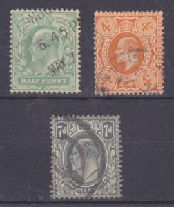 Great Britain Sc 143-145 used 1904-1910 KEVII cplt F-VF
