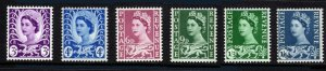 GB - Wales & Monmouthshire Sc#1-6 Wilding Definitive Pre-Decimal (1970) MNH
