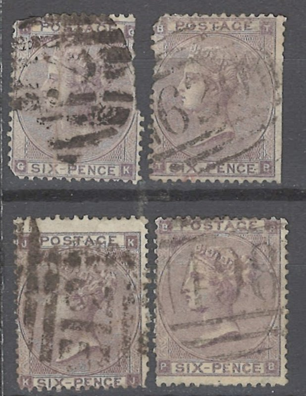 COLLECTION LOT # 2146 GREAT BRITAIN #39 (4 STAMPS) 1862 CV+$420 (1st ROW FAULTY)