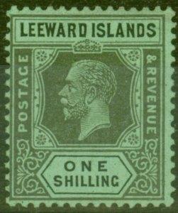Leeward Islands 1923 1s Black & Emerald SG73 Fine Very Lightly Mtd Mint