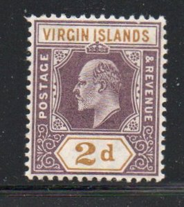 British Virgin Islands Sc 31 1904 2d violet & bistre Edward VII stamp mint