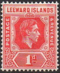 Leeward Islands 1938 1d scarlet (Die A) MH