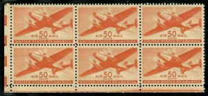 Doyle's_Stamps: Choice Airmail Block of 6 50c Twin-Motored Transport Plane (MO7)