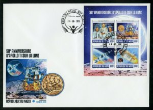 NIGER 2019 50th ANNIVERSARY OF APOLLO 11 ON THE MOON  SHEET FDC