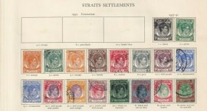 MALAYSIA STRAITS SETTLEMENTS GEORGE 6TH ALBUM PAGE USED TO $5