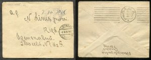 p342 - LATVIA 1921 Free-Frank Cover. Leepaja to Riga. PROVISIONAL Machine Cancel