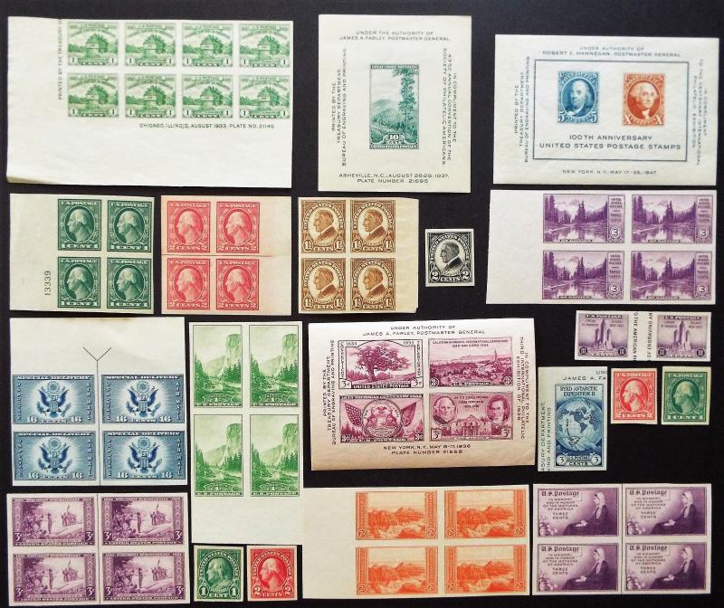 US Collection of Imperf Stamps and Souvenir Sheets Mint