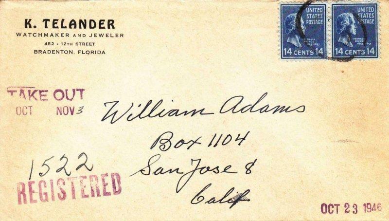 1946, Bradenton, FL to San Jose, CA, 2 X 14c Prexies, See Remark (30504)