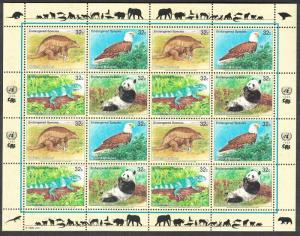 UN New York Birds Armadillo Eagle Iguana Panda Sheetlet of 4 sets SG#667-670
