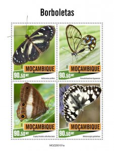 Mozambique Butterflies Stamps 2020 MNH Butterfly Insects Fauna 4v M/S