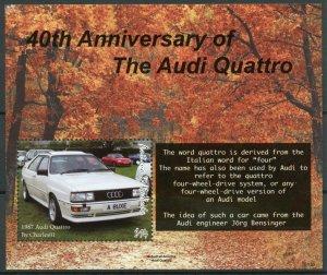 Antigua & Barbuda Cars Stamps 2021 MNH Audi Quattro 40th Anniv 1v S/S
