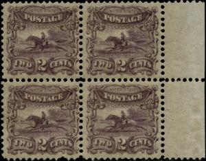 #113-E3e VF OG NH BLK/4 RIGHT MGN PERF/GRILLED PLATE ESSAY ON STAMP PAPER BP9317