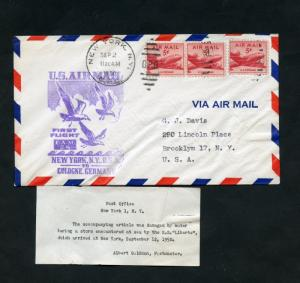 UNITED STATES 1950  1st AIRMAIL SERVICE  FAM 24  NY TO COLOGNE GER  FLIGHT COVER