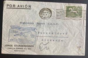 1937 Montevideo Uruguay Airmail Cover To Düsseldorf Germany Condor Lufthansa