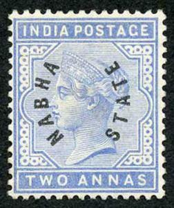 ICS NABHA SG3 1885 2a Dull Blue M/Mint