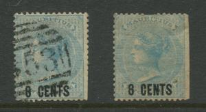 STAMP STATION PERTH: Mauritius #52 FU/MNG 1878  2 Single 8c on a 2p Stamps