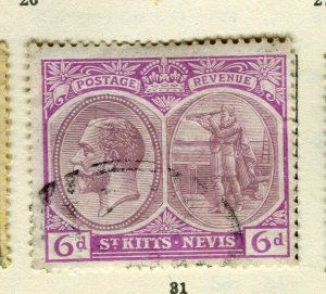 ST.KITTS; 1920s early GV issue fine used Columbus issue 6d. value