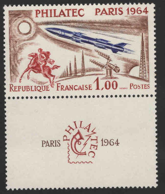 FRANCE Scott 1100 Philatec Paris 1964 show MNH** with label at bottom