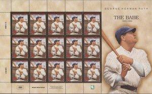 Marshall Islands - 1998 Babe Ruth - 15 Stamp Sheet - Scott #665