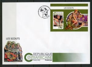 CENTRAL AFRICA 2018 SCOUTS  SOUVENIR SHEET FIRST DAY COVER