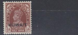 KUWAIT 1939  S G 36  1/2A  RED BROWN  MH