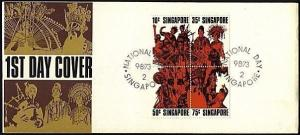 SINGAPORE 1973 National Day Entertainers block on commem FDC