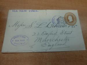 Costa Rica PSE 10c 1905 to Manchester, backstamps