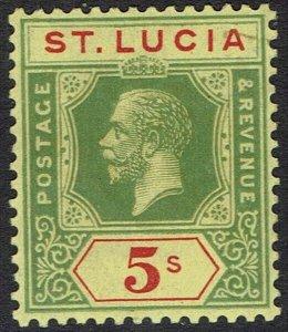 ST LUCIA 1921 KGV 5/- WMK MULTI SCRIPT CA