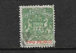 RHODESIA  1892 2d GREEN  FU LETTERS WMK  SG 20