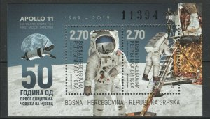 Bosnia and Herzegovina Serbia 2019 Space, Apollo 11 50th Ann. Moon Landing Block