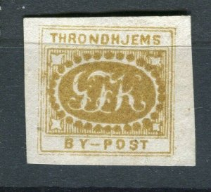 NORWAY; THRONDHJEMS 1860s- scarce early classic By Post Local Imperf issue