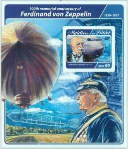 A1060 - MALDIVES  - IMPERF, Souvenir sheet: 2017, Ferdinand von Zeppelin