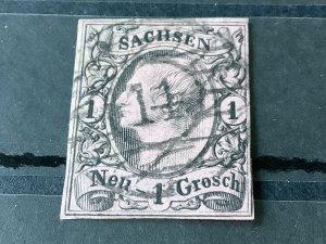 Saxony 1855 Grid Number cancel 14 for Bautzen  Stamp 57193