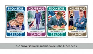 Mozambique JFK Stamps 2018 MNH John F Kennedy Famous People US Presidents 4v M/S