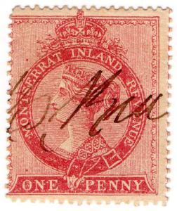 (I.B) Montserrat Revenue : Duty Stamp 1d (dull red)